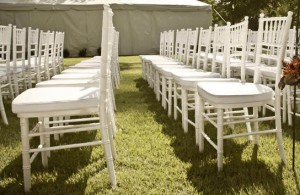 Backyard Chiavari Chair Setup
