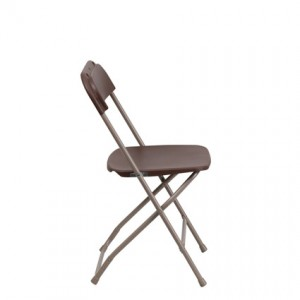 Brown Folding Chair (Side View) - Liberty Event Rentals