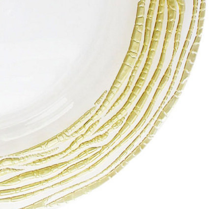 Glass Charger Gold Swirl 13 (Closeup) - Liberty Event Rentals
