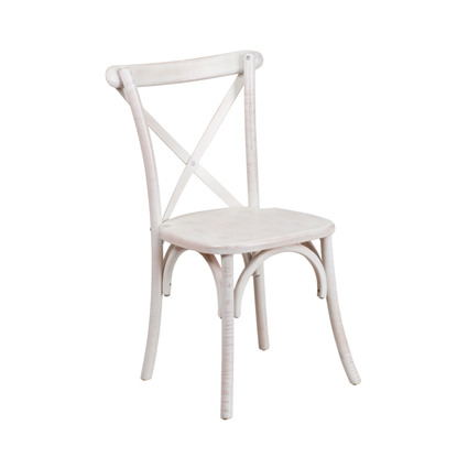Napa Cross Back Chair (Whitewash) - Liberty Event Rentals