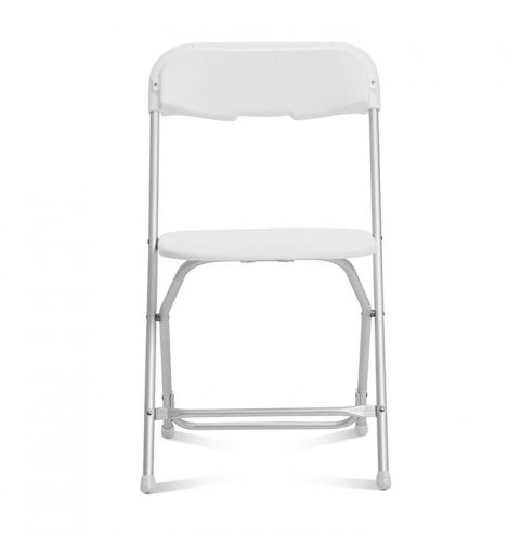 White Folding Chair Aluminum Frame : Front View - Liberty Event Rentals