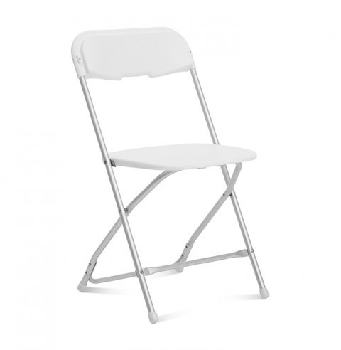 White Folding Chair Aluminum Frame - Liberty Event Rentals
