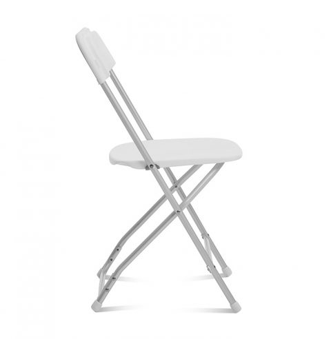 White Folding Chair Aluminum Frame : Side View - Liberty Event Rentals