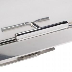 8qt Roll Top Chrome Trim Chafer Closeup - Liberty Event Rentals