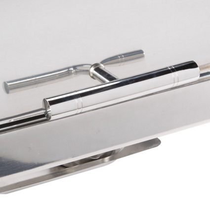 8qt Roll Top Chrome Trim Chafer Closeup - Liberty Event Rentals