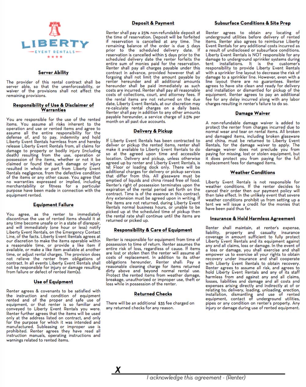 Rental Agreement Information Liberty Event Rentals
