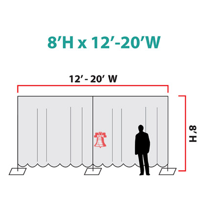 Pipe and Drape Rentals (Size Chart for 2 Sections) - Liberty Event Rentals