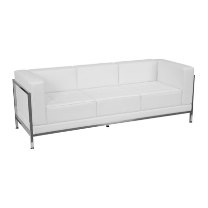 Contemporary White Leather Sofa – Liberty Event Rentals