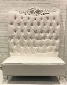 Throne Bench White Frame - Liberty Event Rentals
