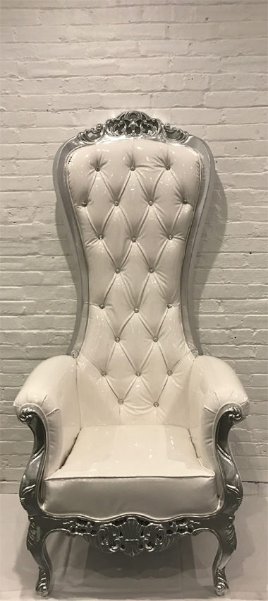 Throne Chair Silver Frame - Liberty Event Rentals