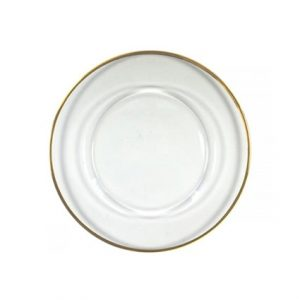 Gold Rimmed Glass Charger Plate - Liberty Event Rentals