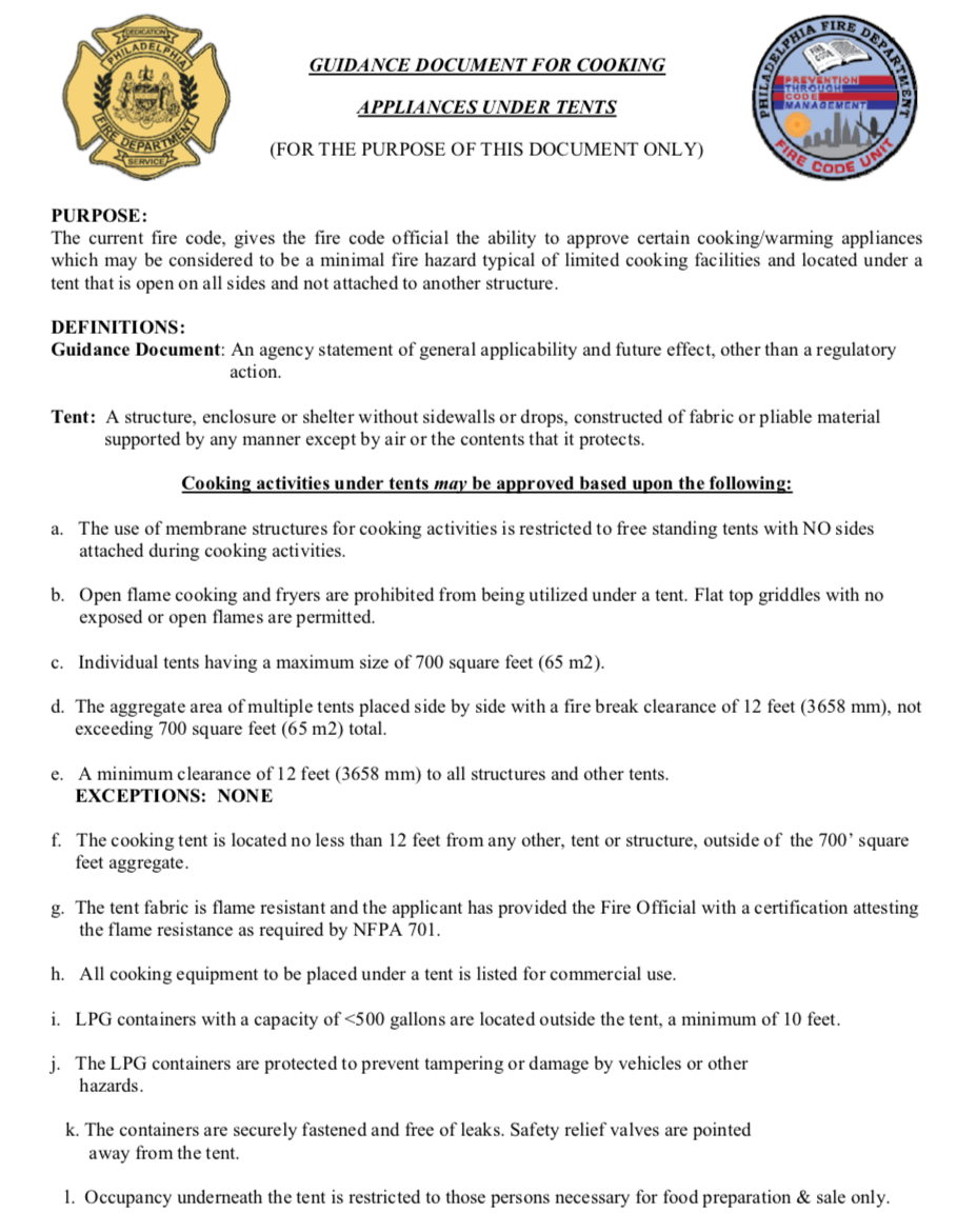 Guidence Document for Tent Cooking from the City of Philadelphia - Liberty Event Rentals