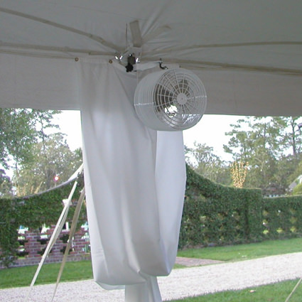 12 White Tent Fan in Tent - Liberty Event Rentals