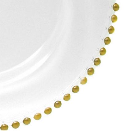 Glass Charger Gold Beaded 13 (Closeup) - Liberty Event Rentals