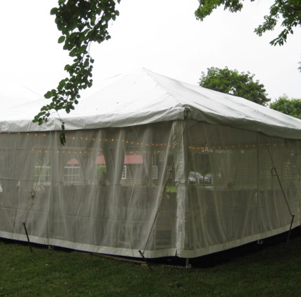 Mesh Sidewall Installed - Liberty Event Rentals