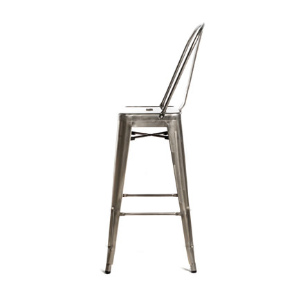 Monroe Gunmetal Barstool w Back (Side View) - Liberty Event Rentals