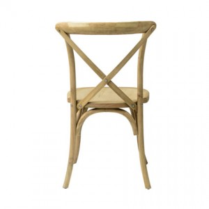 Napa Cross Back Chair (Natural) Back View - Liberty Event Rentals