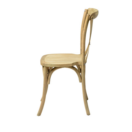 Napa Cross Back Chair (Natural) Side View - Liberty Event Rentals