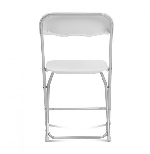 White Folding Chair Aluminum Frame : Back View - Liberty Event Rentals