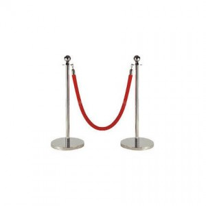 Chrome Stanchions with Red Rope - Liberty Event Rentals